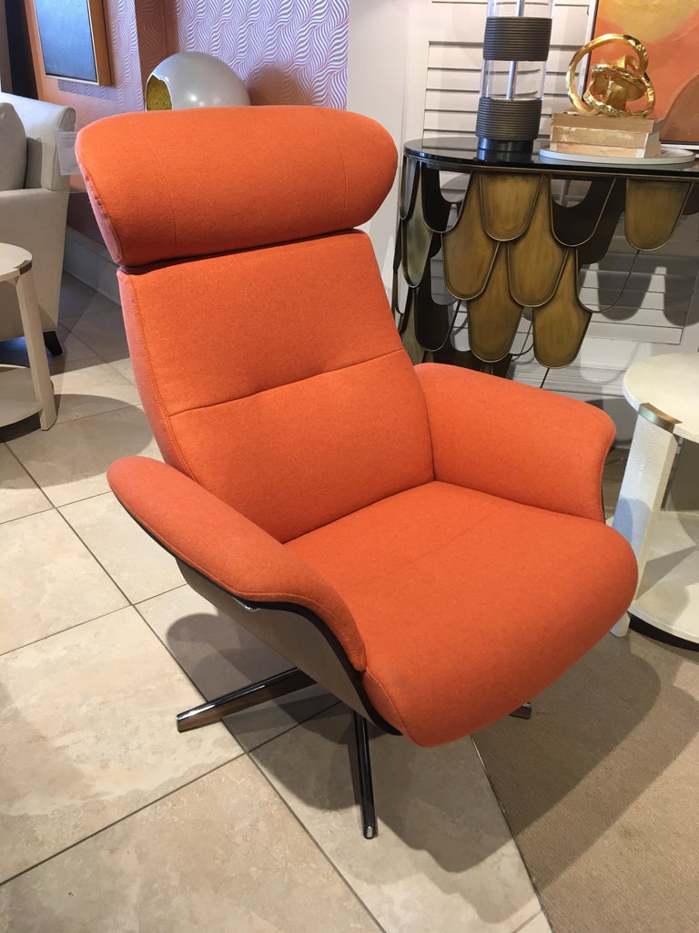 Timeout Reclining Swivel Chair + Footstool In Walnut And Aluminum In Facet  Orange Fabric