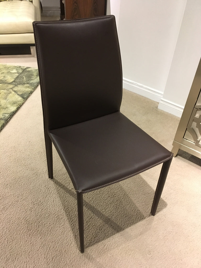 Sienna Dining Chair In Chocolate With Contrast Stitching