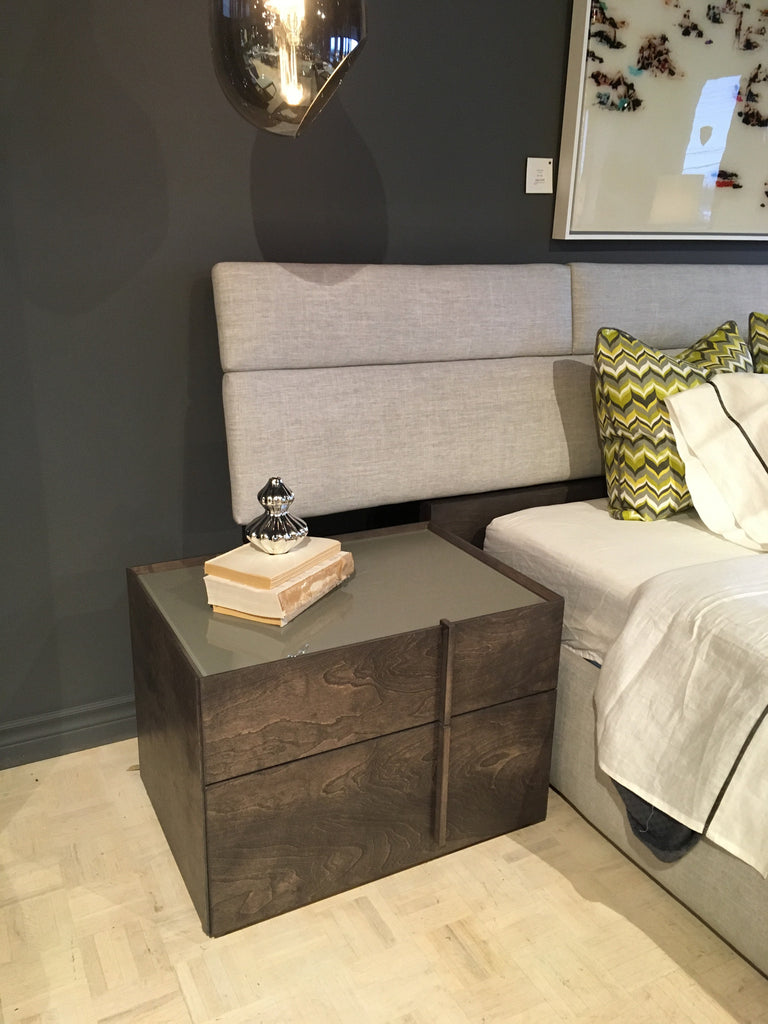 plank left side nightstand in anthracite with glass top in fog  - plank left side nightstand in anthracite with glass top in fog