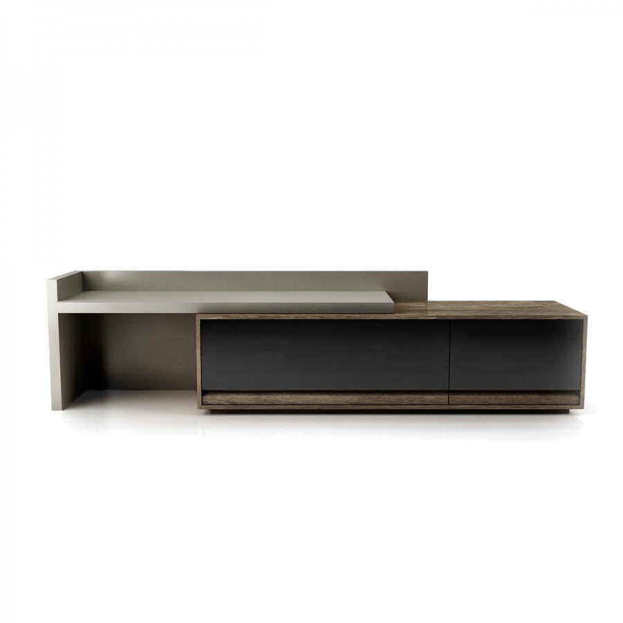Lift Top Coffee Table Ottawa: Studio Media Base With Lacquered Left Sliding Lift Top