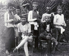 Moro datu warriors with their hand-held weapons
