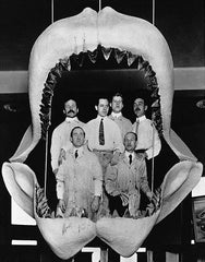 Megalodon jaws with men inside