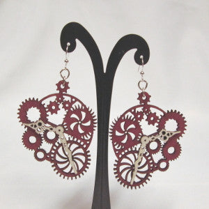 gear clock earrings