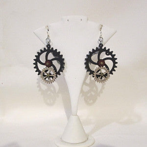 Laser-cut wood earrings-gears