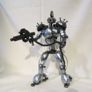 robot figure recycled metal