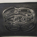 Leather wristlet-Totemic Raven