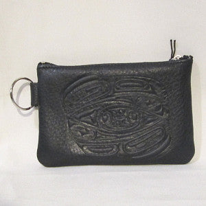 Leather coin purse-Totemic Raven