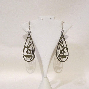 Laser-cut wood earrings-flowers in teardrop