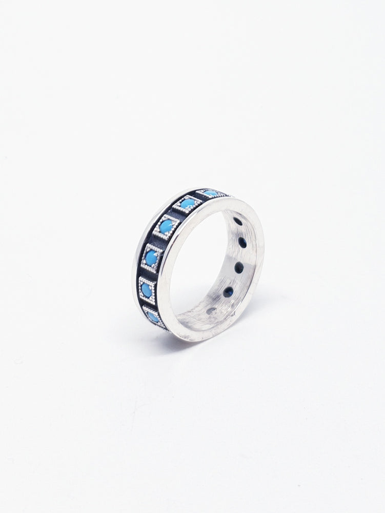 Anell silver black quadrats TURQUOISE