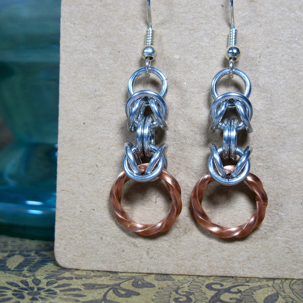 Twisted Square Copper Earrings
