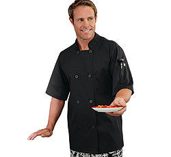 18011-FIVE STAR CHEF APPAREL-MOISTURE WICKING MESH BACK CHEF COAT-BLACK, WHITE (SIZE XS-5X)