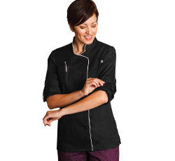 18504-LADIES LONG SLEEVE STRETCH EXECUTIVE CHEF COAT-BLACK, WHITE (SIZE XS-5X)