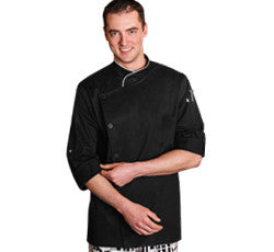 18535-FIVE STAR CHEF APPAREL-LONG SLEEVE STRETCH EXECUTIVE CHEF COAT-BLACK, WHITE (SIZE XS-5X)
