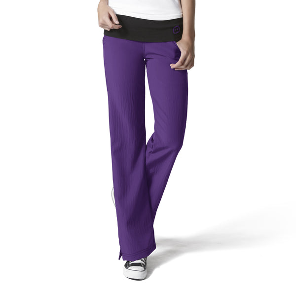 Four-Stretch by WonderWink-Fold Over Knit Waist Pant-Item# 5514 (Regular Length) (Sizes XS-3X)