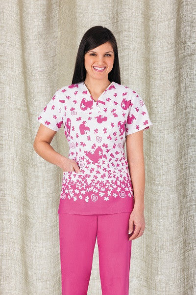 Trust Your Journey-Crossover V-Neck Print Top- Item# 5916-Piece of Heart 3598 (Size XXS-3XL)