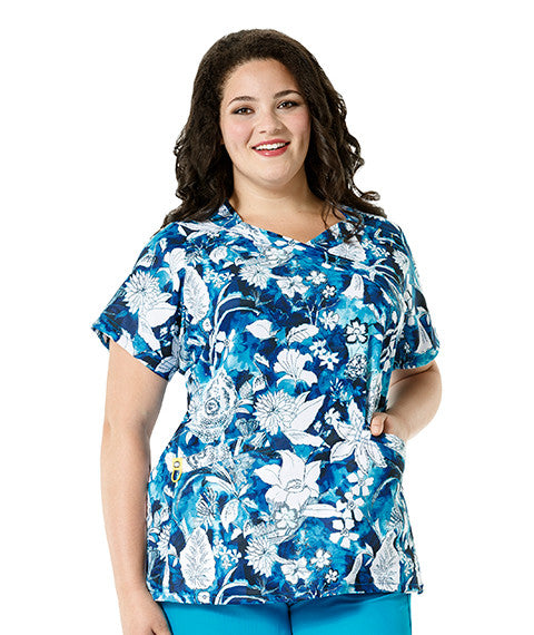 WonderWink Plus-Breezy Blue Print Top-Item# 6215 (Sizes 1X-5X)