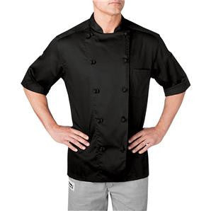 18001-FIVE STAR CHEF APPAREL-SHORT SLEEVE CHEF JACKET-BLACK,WHITE (SIZE XS-5X)