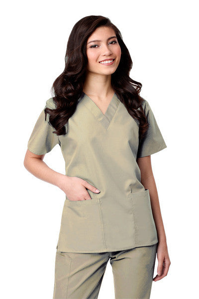 Maevn Core-Item# 1016X- Two-Pocket V-Neck Top (Size 2XL-5XL)