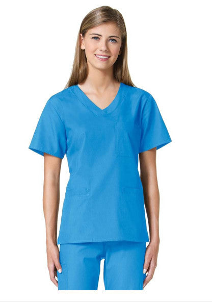 Maevn Core-Item# 1626X-Three Pocket V-Neck Top (Size 2XL-5XL)