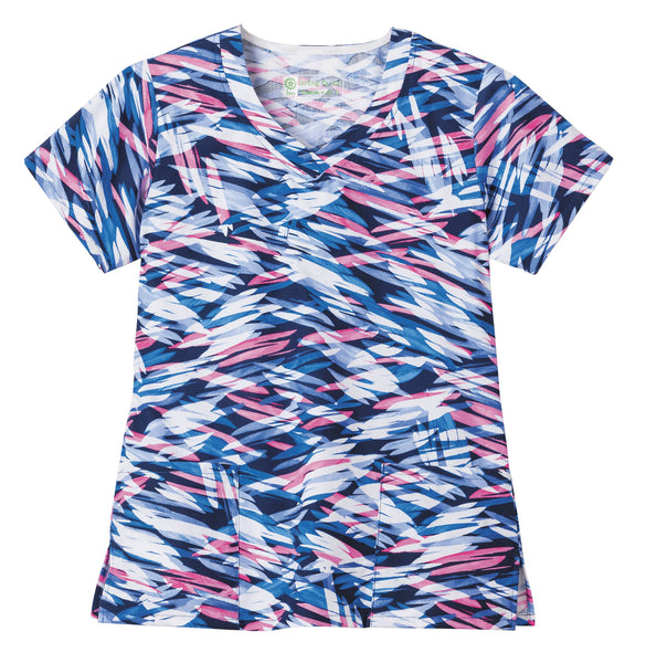 Fundamentals Print Tops-Overlap V-Neck Top-On the Horizon Dusk-406-Item# 14354 (Size XXS-5X)