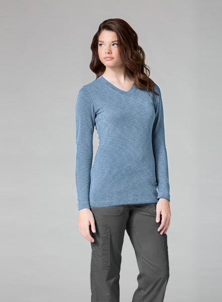 Maevn Uniforms-Modal Knit-Ladies Curved V-Neck Modal Knit Top with Long Sleeve-Item# 6129 (Size XS-2X)