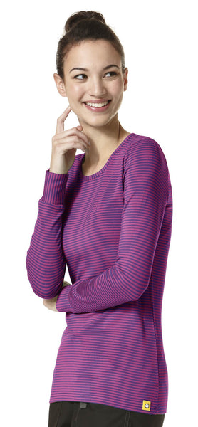 Layers by WonderWink-Long Sleeve Stripped Tee-Item# 2079 (Sizes XS-2X)
