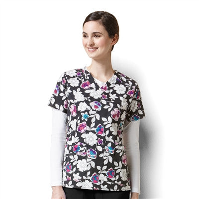 WonderFlex by WonderWink-Petal Pizzazz (PZZ)- Print Top-item# 6178 (Sizes XXS-5XL)