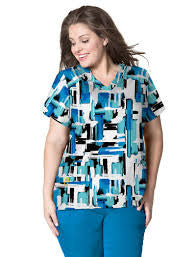 WonderWink Plus-Code Blue- Print Top-Item# 6115 (Sizes 1X-5X)
