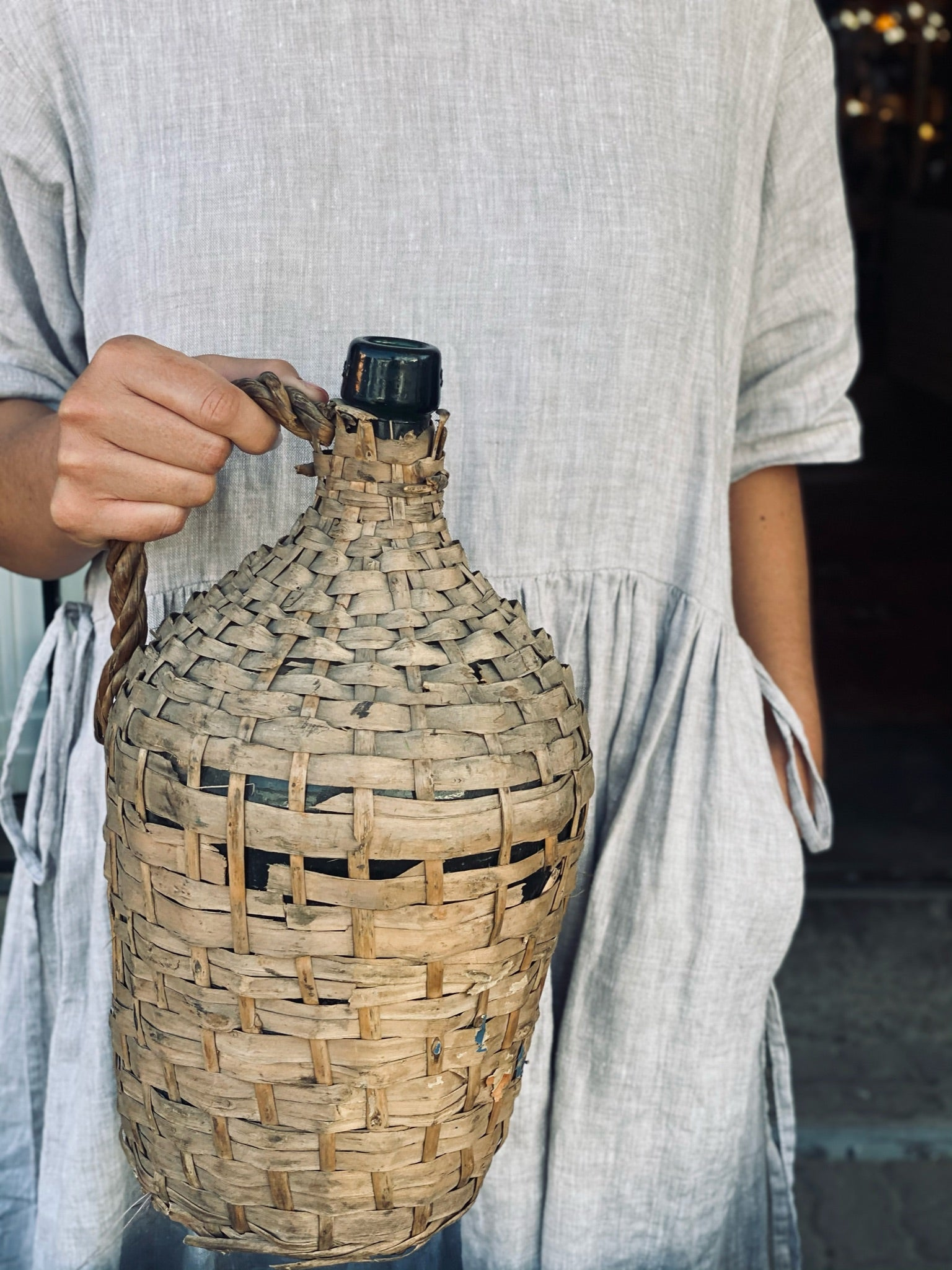 Pitcher in Woven Basket