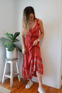 Liliana Maxi Dress ~ red flora