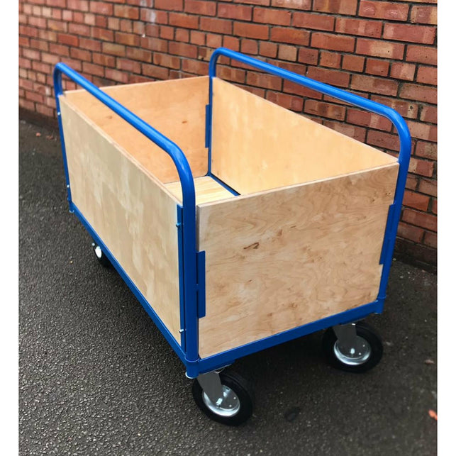 Wooden Sided Box Platform Trolley