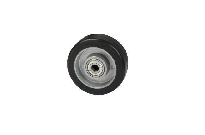 Black Elastic Rubber Tyre, Aluminium Centre | 100 - 125mm Wheel
