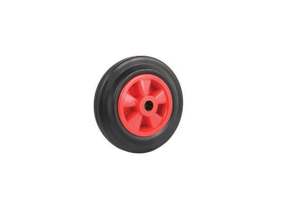 Black Solid Rubber Tyre, Red Polypropylene Centre | 160 - 200mm Wheel