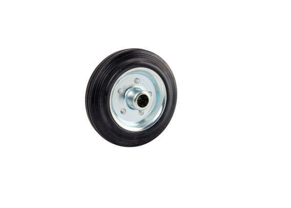 Black Solid Rubber Tyre, Steel Centre | 80 - 200mm Wheel