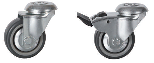 Light Duty Bolt Hole: Thermoplastic Rubber Tyre Castors | 75 - 100mm Wheel