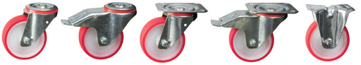 Polyurethane Tyre, Nylon Centre Castors | 80 - 125mm Wheel