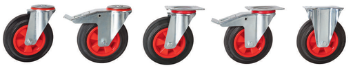 Solid Rubber Tyre, Red Polypropylene Centre Castors | 160 - 200mm Wheel