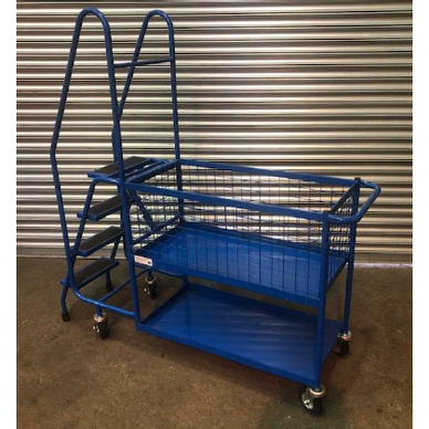 Warehouse Order Picking Trolley with Steps