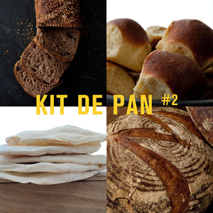 KIT DE PAN #2 - COUNTRY SOUR, CHALLAH, INTEGRAL DE NUECES Y UVAS, ÁRABE (pq x5 und.)