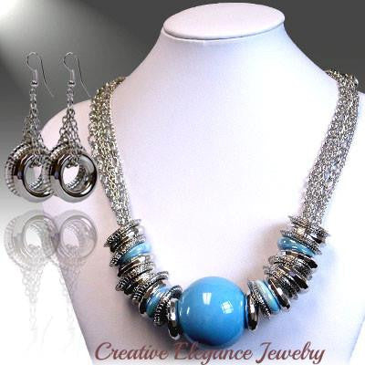 Chunky Blue and Silver, Statement Necklace & Earrings Set