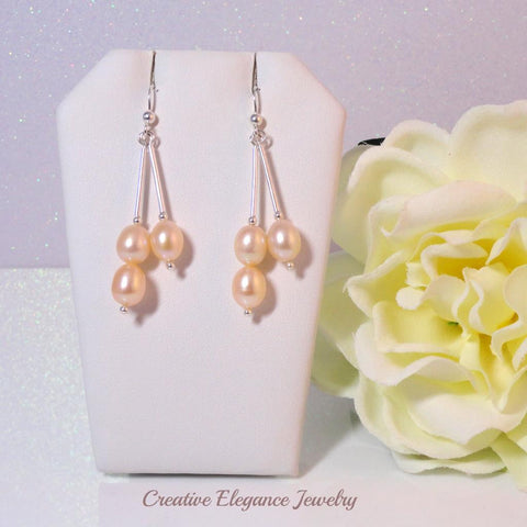 Peach Fresh Water Pearl, Drop Earrings, set in 92.5 Sterling Silver