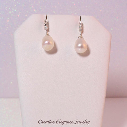White Fresh Water Pearl and Crystal, Drop Earrings, set in 92.5 Sterling Silver