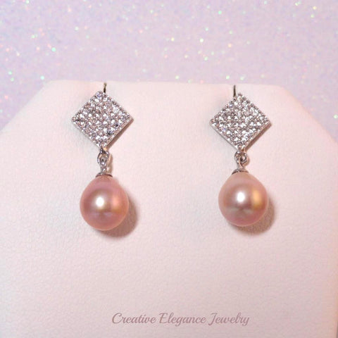 Peach Fresh Water Pearl, CZ Drop Earrings, set in 92.5 Sterling Silver