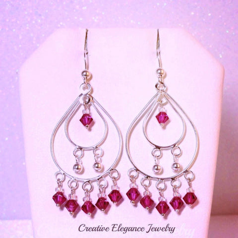 Swarovski Elements Crystal in Fuchsia, Chandelier Earrings, set in 92.5 Sterling Silver