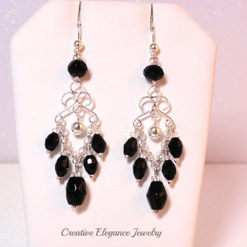 Swarovski Elements Crystal in Jet, Chandelier Earrings, set in 92.5 Sterling Silver