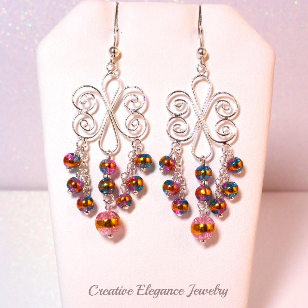 Chandelier 925 sterling silver glass beaded earrings www beaded multi color chandelier earrings set in 925 sterling silver arubaitofo Images