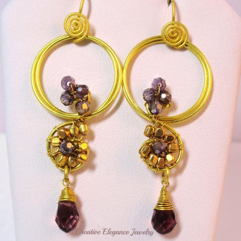 Amethyst Crystal, Beaded Brass Earrings