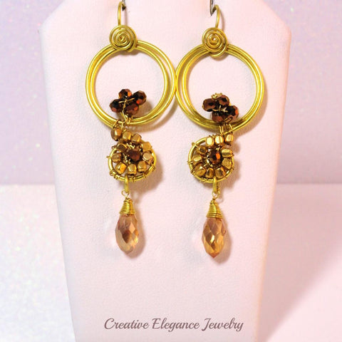 Dorado, Crystal Beaded Brass Earrings