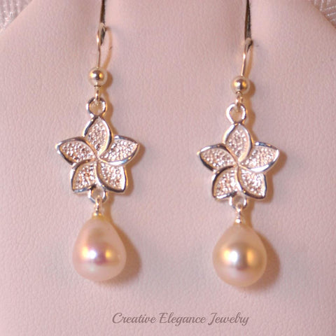 White Fresh Water Pearl, Flower Drop Earrings, set in 92.5 Sterling Silver