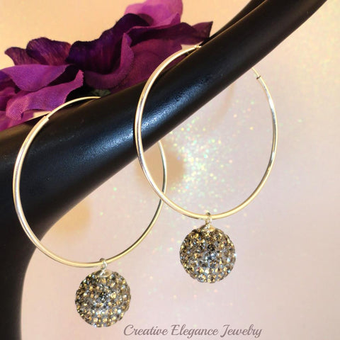 Black Diamond Crystal Ball, Hoop Earrings, set in 92.5 Sterling Silver